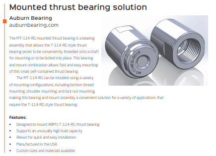 MT-114RG Mounted Thrust Bearing Assembly